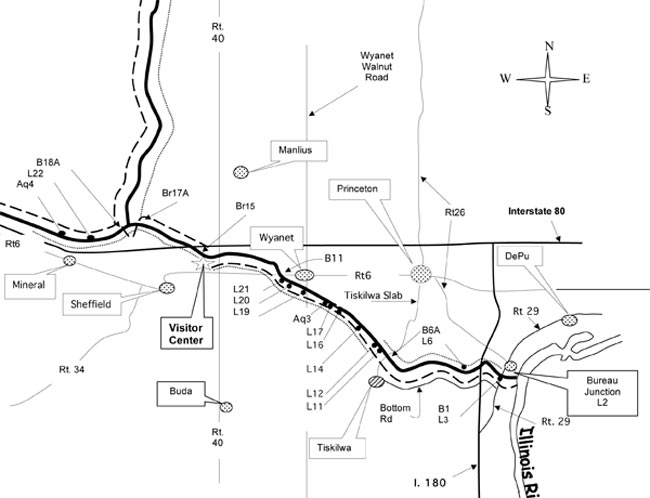 Map of the Hennepin Canal in Bureau County